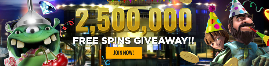 2.5 Million Free Spins now