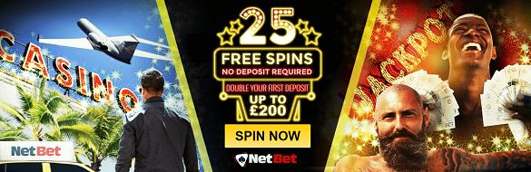 Netbet UK 25 No Deposit Free Spins