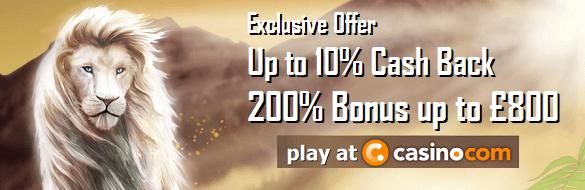 Casino.com UK Cash Back