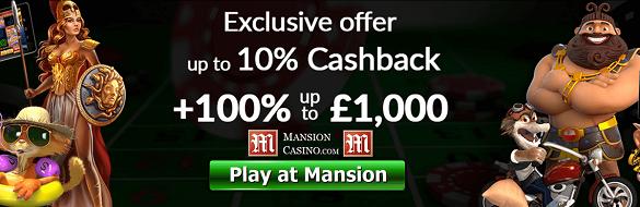 Mansion UK Bonus Cash Back