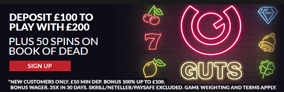Guts Casino UK Sign Up Bonus