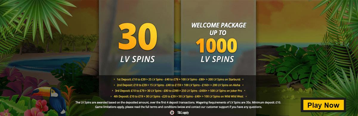 LVbet Casino 30 LV Spins Free No Deposit